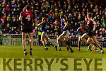 Barry John Keane Kerry in action against Tom Parsons Mayo in the National Football league at Austin Stack Park, Tralee on Saturday night.