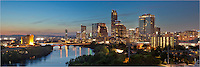 Yes, this is one of my favorite views of my home town in Texas. The highrises begin to light up as day fades in this panorama on a nearly perfect night deep in the heart of Austin, Texas.