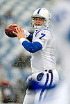 3 January 2010: Indianapolis Colts' quarterback Curtis Painter warms up prior to facing the Buffalo Bills on a cold, snowy, final game of the season at Ralph Wilson Stadium in Orchard Park, New York. The Bills defeated the Colts 30-7. Mandatory Credit: Ed Wolfstein Photo
