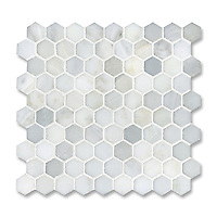 3 cm Hex shown in Calacatta Radiance (available in honed or polished finish) is part of New Ravenna's Studio Line. All mosaics in this collection are ready to ship within 48 hours.<br />