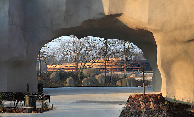 Esplanade de la Souriciere looking towards the new giraffe enclosure in the Zone Sahel-Soudan at the new Parc Zoologique de Paris or Zoo de Vincennes, (Zoological Gardens of Paris or Vincennes Zoo), which reopened April 2014, part of the Musee National d'Histoire Naturelle (National Museum of Natural History), 12th arrondissement, Paris, France. Picture by Manuel Cohen