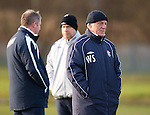 Walter Smith at training with his backup team of Ally McCoist and Kenny McDowall behind him
