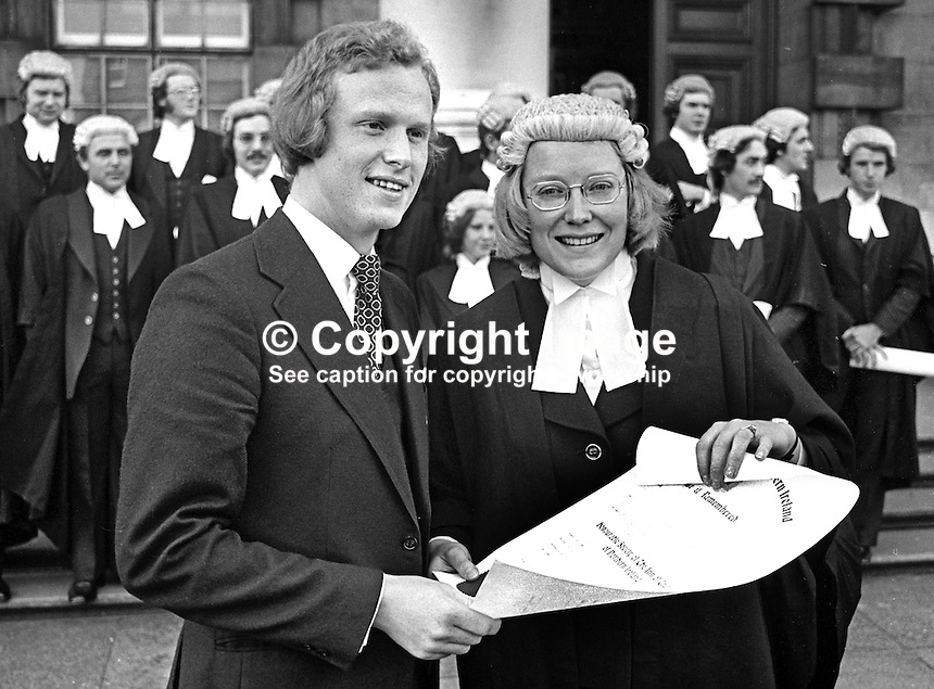 Belfast, N Ireland, barrister, Paul Girvan, with his wife, Karen Girvan, who was among a group of new barristers called to the Bar, photographed outside the High Court in Belfast, 21st October 1975. Paul Girvan went on to become Sir Paul Girvan, a high court judge, and later Lord Justice Girvan. 197510210701.<br /> <br /> Copyright Image from Victor Patterson, 54 Dorchester Park, Belfast, UK, BT9 6RJ<br /> <br /> t1: +44 28 9066 1296 (from Rep of Ireland 048 9066 1296)<br /> t2: +44 28 9002 2446 (from Rep of Ireland 048 9002 2446)<br /> m: +44 7802 353836<br /> <br /> e1: victorpatterson@me.com<br /> e2: victorpatterson@gmail.com<br /> <br /> The use of my copyright images is subject to my Terms &amp; Conditions.<br /> <br /> It is IMPORTANT that you familiarise yourself with them. They are available on my website at www.victorpatterson.com.<br /> <br /> None of my copyright images may be used on a website unless they are visibly watermarked, i.e. &copy; Victor Patterson within the body of the visible image. Metadata denoting my copyright must NOT be deleted. <br /> <br /> Web use is extra at currently recommended NUJ rates.