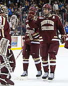 Parker Milner (BC - 35), Patrick Wey (BC - 6) - The Boston College Eagles defeated the Harvard University Crimson 4-1 in the opening round of the 2013 Beanpot tournament on Monday, February 4, 2013, at TD Garden in Boston, Massachusetts.