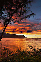 A vivid sunset at Hanalei Bay, Kaua'i.