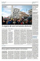 Tearsheet of &quot;Irlanda: 'A espera de um terramoto eleitoral&quot; published in Expresso