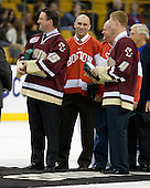 Craig Janney, Shawn McEachern (UMass-Lowell - Assistant Coach), Greg Brown, Grant Standbrook - The University of Massachusetts-Lowell River Hawks defeated the Northeastern University Huskies 3-2 (OT) in their Hockey East Semi-Final match on Friday, March 20, 2009, at the TD BankNorth Garden in Boston, Massachusetts.