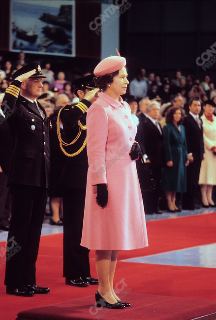 Queen Elizabeth II inspects troops during a royal visit to Ottawa, Canada, April 1982
