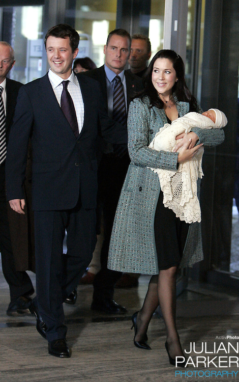 Crown Prince Frederik & Crown Princess Mary of Denmark leave the Rigshospitalet in Copenhagen with their new-born baby son..