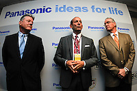 Panasonic NA CEO Joe Taylor, MLS Commissioner Don Garber, and United States Soccer CEO Dan Flynn. The men's national team of the United States (USA) was defeated by Ecuador (ECU) 1-0 during an international friendly at Red Bull Arena in Harrison, NJ, on October 11, 2011.