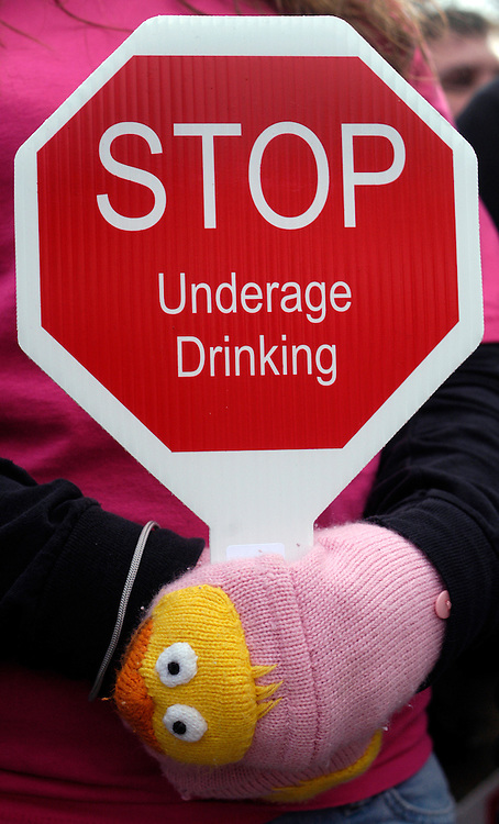 A sign at  a Community Anti-Drug Coalitions of America rally against underage drinking at the Upper Senate Park.