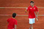 07.04.2012 Oropesa, Spain. 1/4 Final Davis Cup. Marcel Granollers celebrates a point with Marc Lopez during the double match on day 2 of 1/4 final Davis Cup beetween Spain And Austria at Oropesa town.