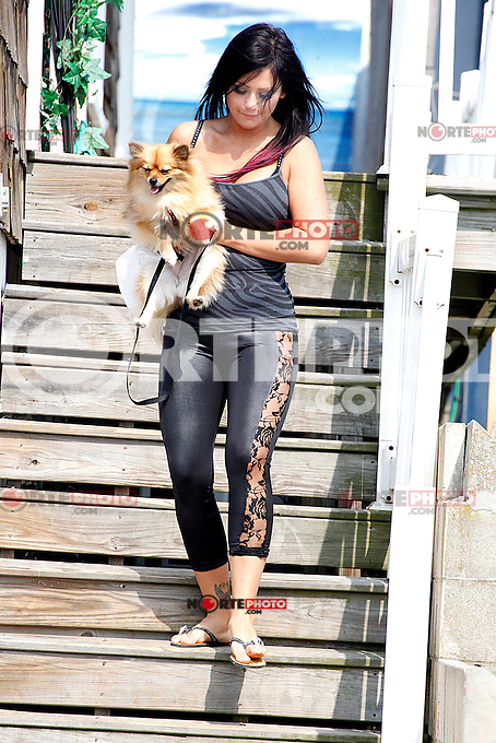 J WoWW pictured walking her dog during filming of The Jersey Shore Show season six in Seaside Heights, New Jersey on June 28, 2012 &copy; Star Shooter / MediaPunchInc */NORTEPHOTO.COM*<br />