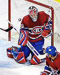 16 January 2007: Montreal Canadiens goaltender Cristobal Huet of France makes a save facing the Vancouver Canucks at the Bell Centre in Montreal, Canada. The Canucks defeated the Canadiens 4-0.