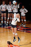 SAN ANTONIO, TX - OCTOBER 19, 2011: The Texas A&M University Corpus Christi Islanders vs The University of Texas at San Antonio Roadrunners Volleyball at the UTSA Convocation Center. (Photo by Jeff Huehn)