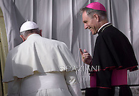 Pope Francis Monsignor Georg Ganswein during his weekly general audience in St. Peter square at the Vatican, Wednesday.November 19, 2014