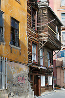 General view of old wooden traditional house, Istiklal and Baba Streets, Istanbul, Turkey. Ottoman Istanbul was a predominantly wooden city but in the 20th century many of the old houses were replaced by more solid structures. Efforts are now being made to preserve the traditional wooden architecture. Picture by Manuel Cohen.