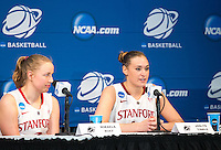 STANFORD, CA - March 26, 2013: Press conference after Stanford's 73-40 victory over Michigan in a second round game of the 2013 NCAA Division I Championship at Maples Pavilion in Stanford, California.