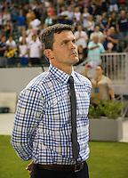 CARSON, CA - August 31, 2013: San Jose Earthquakes head coach Mark Watson prior to the LA Galaxy vs San Jose Earthquakes match at the StubHub Center in Carson, California. Final score, LA Galaxy 3, San Jose Earthquakes  0.