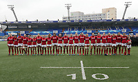 The Welsh team line up for the anthems <br /> <br /> Photographer Ian Cook/CameraSport<br /> <br /> Women's Six Nations Round 4 - Wales Women v Ireland Women - Saturday 11th March 2017 - Cardiff Arms Park - Cardiff<br /> <br /> World Copyright &copy; 2017 CameraSport. All rights reserved. 43 Linden Ave. Countesthorpe. Leicester. England. LE8 5PG - Tel: +44 (0) 116 277 4147 - admin@camerasport.com - www.camerasport.com