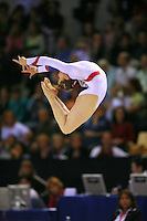 Oct 18, 2006; Aarhus, Denmark; Anna Pavlova of Russia performs ring leap on floor exercise during women's gymnastics team final at 2006 World Championships Artistic Gymnastics.