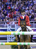 OMAHA, NEBRASKA - APR 2: McLain Ward approaches a jump aboard HH Azur during the Longines FEI World Cup Jumping Final at the CenturyLink Center on April 2, 2017 in Omaha, Nebraska. (Photo by Taylor Pence/Eclipse Sportswire/Getty Images)