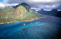 French Polynesia, Islands in the South Pacific, part of the French overseas Territories-aerial view of Moorea...Photograph by Owen Franken