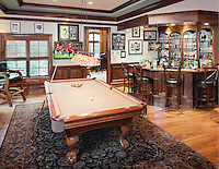 This cozy billiard room and bar is ideal for SuperBowl viewing or a Guys Night In.