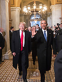 United States President-elect Donald Trump and US President Barack Obama arrive for Trump's inauguration ceremony at the Capitol in Washington, Friday, Jan. 20, 2017.  <br /> Credit: J. Scott Applewhite / Pool via CNP