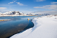 Snow covered coastline near Stamsund, Vestvågøy, Lofoten Islands, Norway