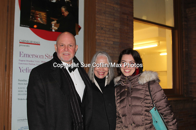 """Guiding Light's Ron Raines """"Alan Spaulding"""" along with fellow singers highlighted the evening with song honoring Stephen Sondheim - A Gala Evening to support New York Festival of Song on April 19, 2017 at Carnegie Hall's Weill Recital Hall. Ron's wife Dona and daughter Charlotte and friend Michael came to the Gala to support him. (Photo by Sue Coflin/Max Photos)"""