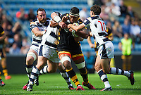 Nathan Hughes of Wasps takes on the Yorkshire Carnegie defence. Pre-season friendly match, between Wasps and Yorkshire Carnegie on August 21, 2016 at the Ricoh Arena in Coventry, England. Photo by: Patrick Khachfe / JMP