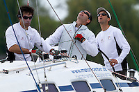 Mathieu Richard is all concentration during day 3 of Match Race Germany 2010. World Match Racing Tour. Langenargen, Germany. 22 May 2010. Photo: Gareth Cooke/Subzero Images/WMRT