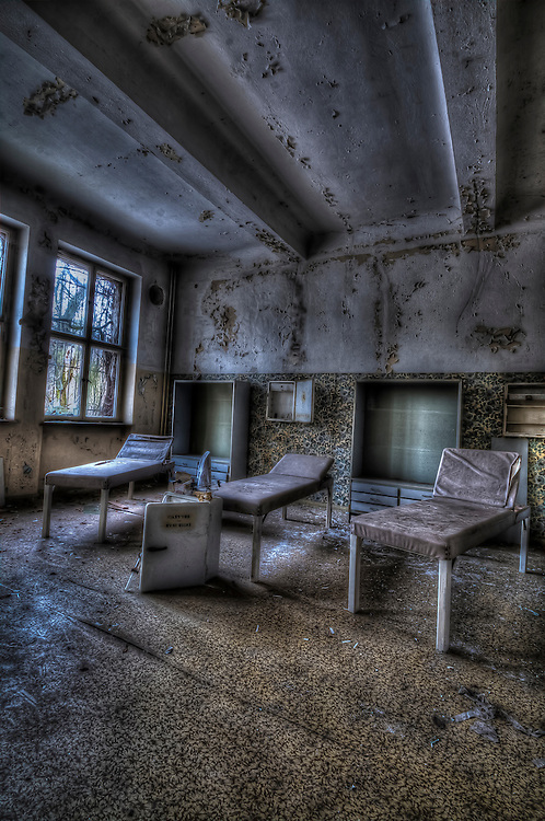 Abandoned lunatic asylum north of Berlin, Germany. Day beds.