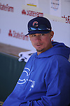 CHICAGO - APRIL  11:  Steve Clevenger #51 of the Chicago Cubs looks on against the Milwaukee Brewers on April 11, 2012 at Wrigley Field in Chicago, Illinois.  The Brewers defeated the Cubs 2-1.  (Photo by Ron Vesely)   Subject:  Steve Clevenger