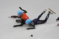 OLYMPICS: SOCHI: Iceberg Skating Palace, 10-02-2014, Shorttrack, 1500m Men, B-finale, Sjinkie Knegt (#248) wordt onderuit gereden door de Koreaan Se Young Park (#242), ©foto Martin de Jong