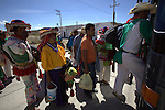 Pilgrimage of Native Wixaricas to their sacred place of Wirikuta, February 2012. The scene is at Colotlan town.. Photo by Heriberto Rodriguez