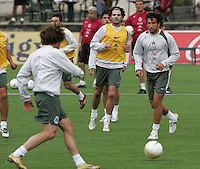 "Mexico national soccer team players Francisco ""Kikin"" Fonseca (R), Duilio Davino (C) and Gerardo Torrado Play during a training session at the Centro Pegaso training center, March 27, 2006. Photo by Javier Rodriguez"