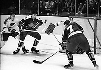 Seals vs St.Louis Blues: Billy Harris scores for the Seals, #5 Carol Vadnais. (1969 photo/Ron Riesterer)