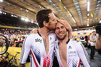 Pictures by SWpix.com - 06/03/2016 - Cycling - 2016 UCI Track Cycling World Championships, Day 5 - Lee Valley VeloPark, London, England - Men's Madison Final - WIGGINS Bradley and CAVENDISH Mark celebrate winning the Madison