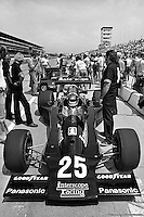 INDIANAPOLIS, IN - MAY 27: Danny Ongais waits to drive his Parnelli VPJ6C/Cosworth TC during practice for the Indy 500 at the Indianapolis Motor Speedway in Indianapolis, Indiana, on May 27, 1979.
