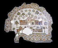 4th century AD Roman mosaic depiction of Roman Villa farms in Africa. The Bardo Museum, Tunis, Tunisia. black background