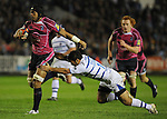 Maama Molitika gets away from Bath's Shontayne Hape. Cardiff Blues V Bath, EDF Energy Cup. &copy; Ian Cook IJC Photography iancook@ijcphotography.co.uk www.ijcphotography.co.uk