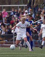 Boston College midfielder Kate McCarthy (21) traps the ball as Hofstra University forward Salma Tarik (8) pressures. Boston College defeated Hofstra University, 3-1, in second round NCAA tournament match at Newton Soccer Field, Newton, MA.
