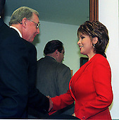 United States Representative Dan Burton (Republican of Indiana) welcomes Raquel Welch to the U.S. House Government Reform Committee hearing on Dietary Supplement Health and Education Act in Washington, D.C. on March 25, 1999..Credit: Ron Sachs / CNP