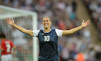 London, England - Thursday, August 9, 2012: The USA defeated Japan 2-1 to win the London 2012 Olympic gold medal at Wembley Arena. Carli Lloyd celebrates her first goal. .