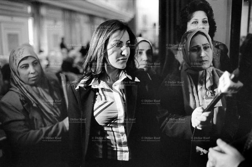 Iraq. Baghdad. Al Alweya Club. National council for women. Women conference on women issues. A woman journalist from the iraqi television. 21.02.04 © 2004 Didier Ruef