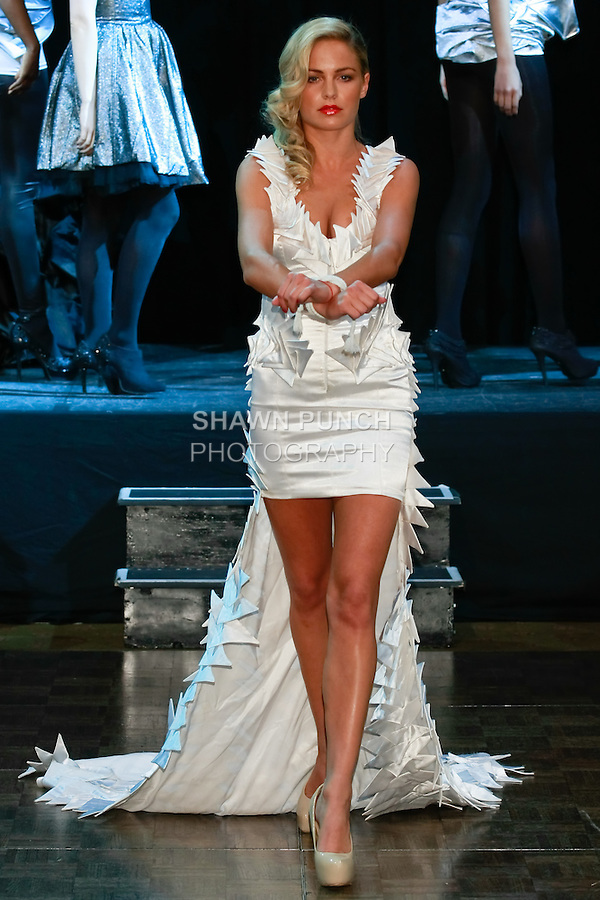 "Ivana Surovcova, Slovakian Let's Dance finalist, walks runway in an outfit from the ""Skeleton"" collection by Ema Klein, from the Academy of Fine Arts and Design in Bratislava, during Slovak Fashion Night 2012 in New York City May 11, 2012."