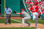 24 May 2015: Philadelphia Phillies first baseman Darin Ruf gets Michael Taylor out at first during a game against the Washington Nationals at Nationals Park in Washington, DC. The Nationals defeated the Phillies 4-1 to take the rubber game of their 3-game weekend series. Mandatory Credit: Ed Wolfstein Photo *** RAW (NEF) Image File Available ***