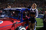 A cheerleader rides onto the field before Ole Miss vs. Louisiana Tech in Oxford, Miss. on Saturday, November 12, 2011. Louisiana Tech won 27-7.